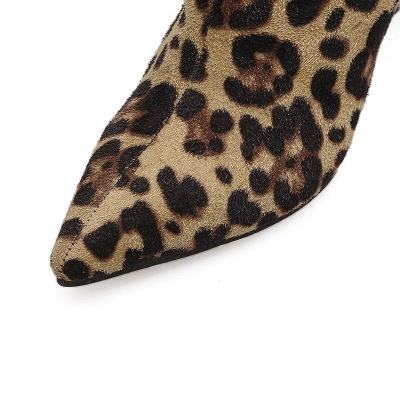 Leopard Date Zipper Suede Pointed Toe Boots_8
