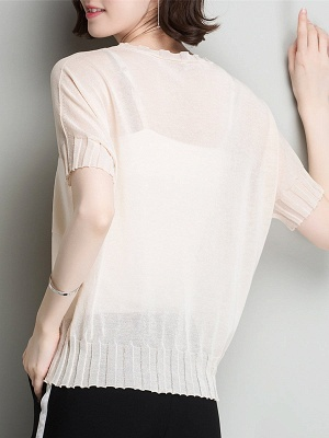Shift Daytime Casual Ice Yarn Knitted Batwing Sweaters_11