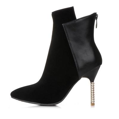 Zipper Pointed Toe Stiletto Heel Elegant Boots_5