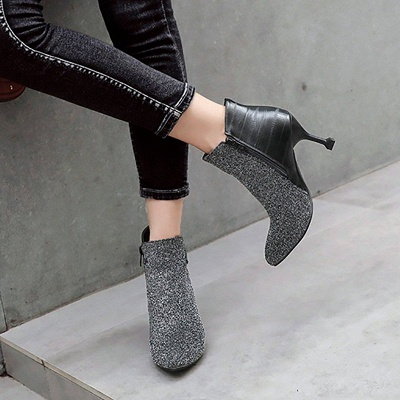 Zipper Date Cone Heel Pointed Toe Sequin   Boots_3