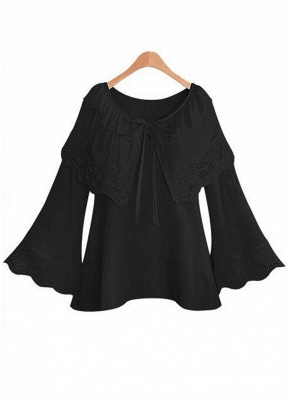 Women Plus Size Top Scalloped Lace Ruffles Tied Front Flared Bell Sleeves Blouse_2