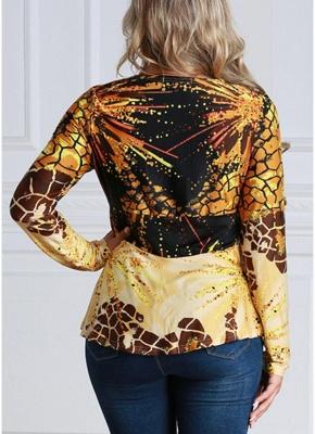 Women Contrast Print V-Neck Asymmetric Hem Blouse Top_3