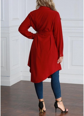 Women Long Sleeve Irregular Hem Belted Solid Tunic Plus Size Shirt_6