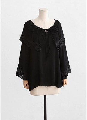 Women Plus Size Top Scalloped Lace Ruffles Tied Front Flared Bell Sleeves Blouse_4