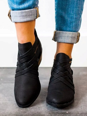 Low Heel Hollow-out PU Casual Zipper Boots_14