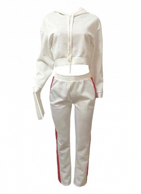 Fashion Women Two-Piece Set Striped Hooded Drawstring Long Pants Long Sleeve Hoodies Sportswear_3