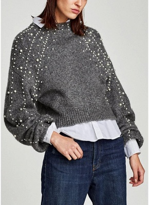 Women  Faux Pearls Beadings Round Neck  Long Sleeve Ribbed  Sweater_3