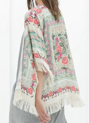 Boho Floral Print Fringe Shaw Chiffon Kimono_1