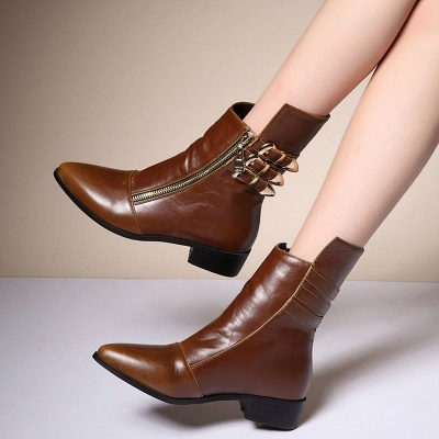 PU Chunky Heel Zipper Pointed Toe Casual Boots_7