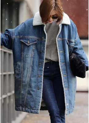 Women Winter Loose Denim Coat Fleece Thicken Jacket Outerwear_5