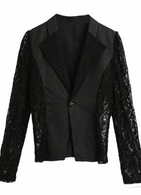 Autumn Women Jacket Lace Splicing Slim Suit One Button Casual Coat Blazer_5