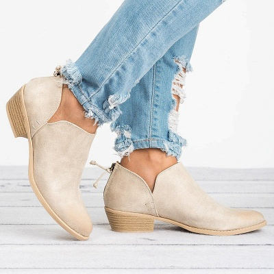 Women Pu zipper Casual Daily  Chunky Boots_3