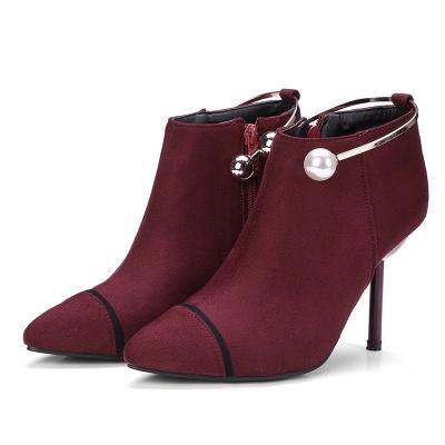 Zipper Date Stiletto Heel Elegant Pointed Toe Boots_1