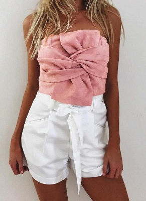 Suede Cropped Bow Front Sleeveless Back Zipper Crop Tube Top_1
