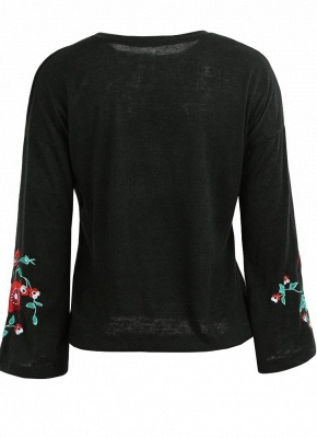 Women Knitted Sweater Floral Embroidery Pullover Jumper Flare Long Sleeve Casual Loose Tops_6