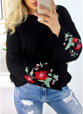 Women Knitted Sweater Floral Embroidery Pullover Jumper Flare Long Sleeve Casual Loose Tops_2