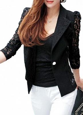 Autumn Women Jacket Lace Splicing Slim Suit One Button Casual Coat Blazer_3
