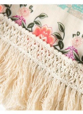 Boho Floral Print Fringe Shaw Chiffon Kimono_8