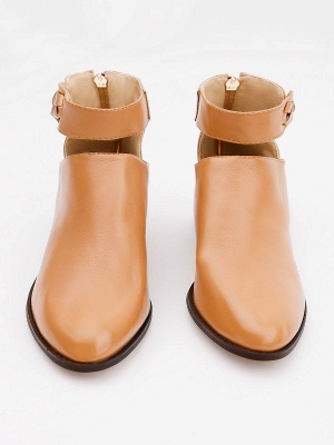 Women Chunky Heel Daily Zipper Round Toe Boots_19
