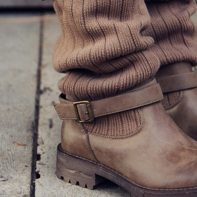 Comfy Cabin Sweater Boots Paneled Adjustable Buckle Boots_10