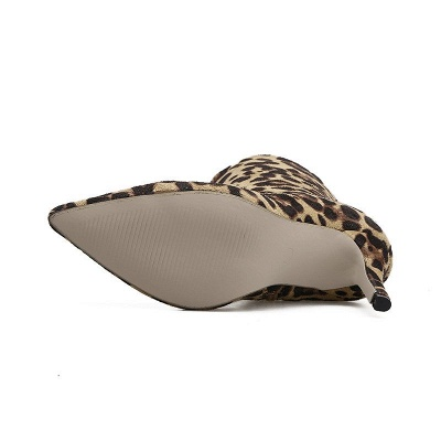 Leopard Date Zipper Suede Pointed Toe Boots_10