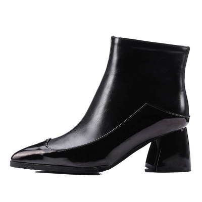 Chunky Heel Zipper Daily Elegant Pointed Toe Boots_3