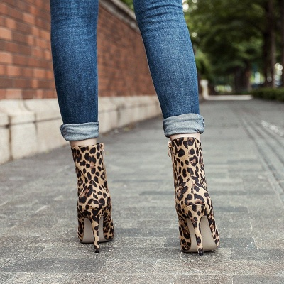 Leopard Date Zipper Suede Pointed Toe Boots_4