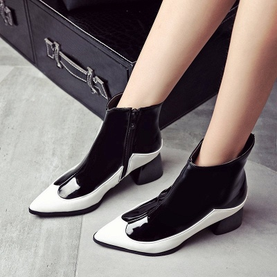 Chunky Heel Zipper Daily Elegant Pointed Toe Boots_5