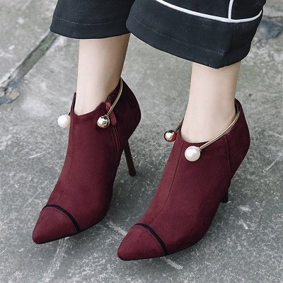Zipper Date Stiletto Heel Elegant Pointed Toe Boots_6