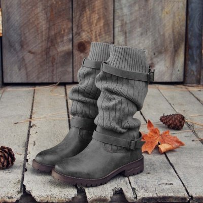 Comfy Cabin Sweater Boots Paneled Adjustable Buckle Boots_3
