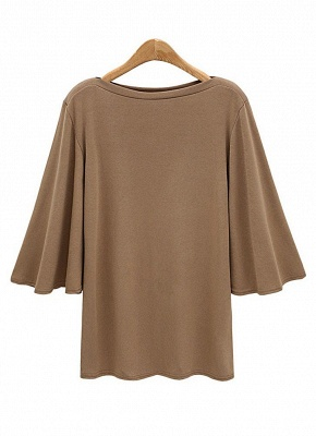 Women Batwing Sleeve Plus Size O Neck 3/4 Sleeve T-Shirt_2