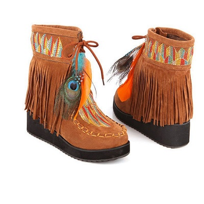 Tassel Wedge Heel Daily Round Toe Casual Boots_2