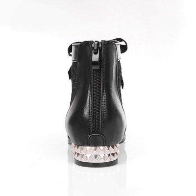 Black Chunky Heel Bowknot Casual Mesh Boots_8