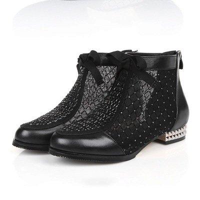 Black Chunky Heel Bowknot Casual Mesh Boots_4