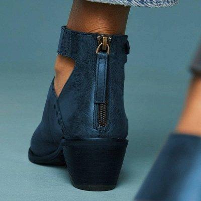 Women Chunky Heel Daily Zipper Round Toe Boots_10