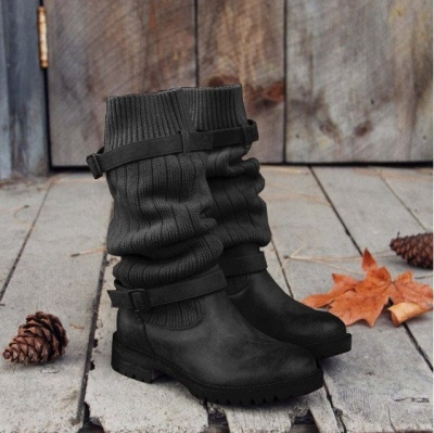 Comfy Cabin Sweater Boots Paneled Adjustable Buckle Boots_6