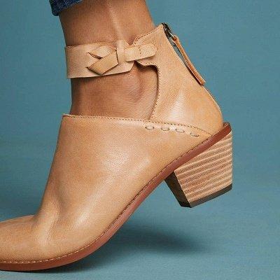 Women Chunky Heel Daily Zipper Round Toe Boots_1