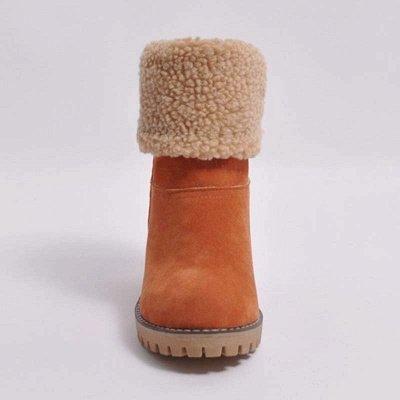 Nubuck Chunky Heel Slip-On Round Toe Boots_15