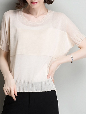 Shift Daytime Casual Ice Yarn Knitted Batwing Sweaters_3
