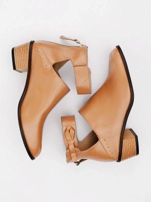 Women Chunky Heel Daily Zipper Round Toe Boots_17