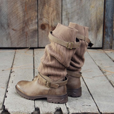 Comfy Cabin Sweater Boots Paneled Adjustable Buckle Boots_9