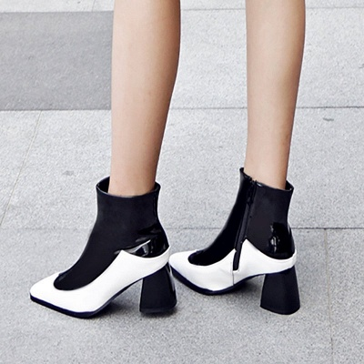 Chunky Heel Zipper Daily Elegant Pointed Toe Boots_4