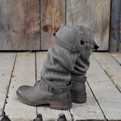 Comfy Cabin Sweater Boots Paneled Adjustable Buckle Boots_13