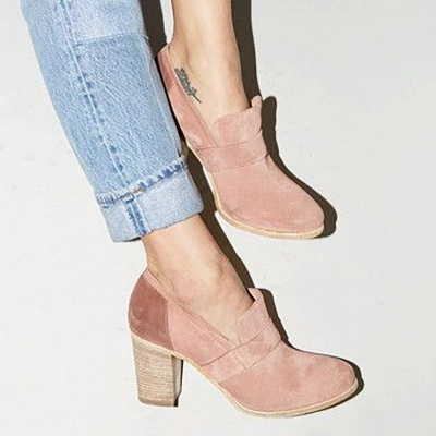 Casual Suede Chunky Heel Slip-On Boots_1