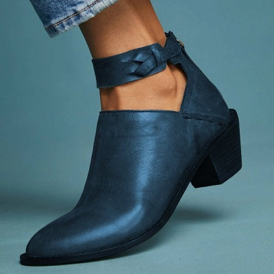 Women Chunky Heel Daily Zipper Round Toe Boots_2