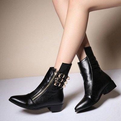 PU Chunky Heel Zipper Pointed Toe Casual Boots_5