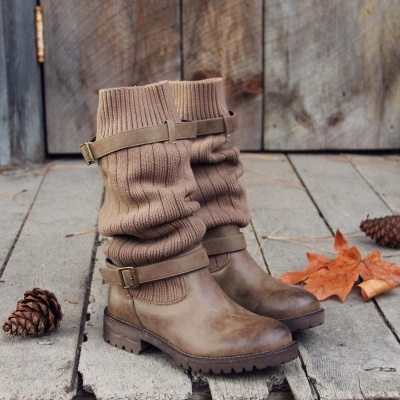 Comfy Cabin Sweater Boots Paneled Adjustable Buckle Boots_8