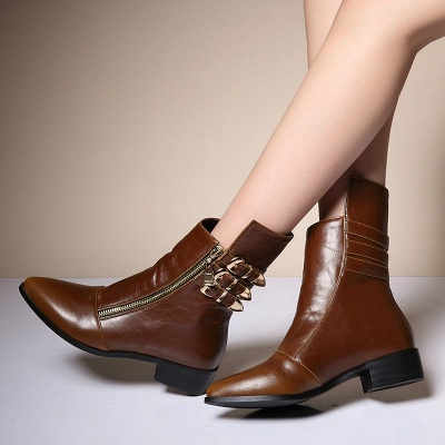 PU Chunky Heel Zipper Pointed Toe Casual Boots_1