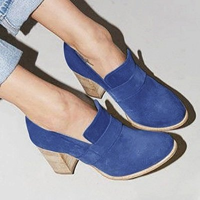 Casual Suede Chunky Heel Slip-On Boots_12