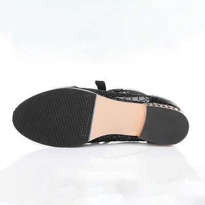 Black Chunky Heel Bowknot Casual Mesh Boots_6